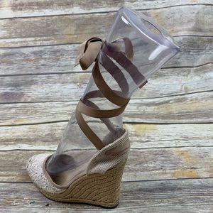 Aldo espadrille wedge shoes lace up size 8 cream